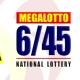 PCSO Mega 645 Lotto Results